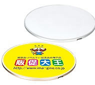 Qi(チー)対応サークルワイヤレス充電器(シルバー) フルカラー名入れ専用