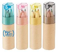シャープナー付色鉛筆(6本入) 回転シルク名入れ代込み