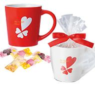 バレンタイン マグカップ (ハートチョコ5粒入)