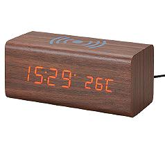 ワイヤレスチャージャーマルチクロック Wood-style