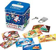 クリスマス鍵付缶貯金箱キャンディ7粒入