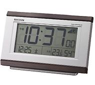 リズム時計 パルデジットキング電波時計(茶色)
