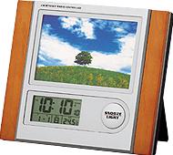 フォトフレーム電波時計(木目調)