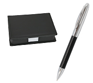 デスクメモケース&レザーグリップメタルボールペン