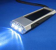 ソーラーパワー3LEDライト&USB充電器付