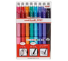三菱鉛筆 ユニボール RE 8色セット(消せるボールペン)